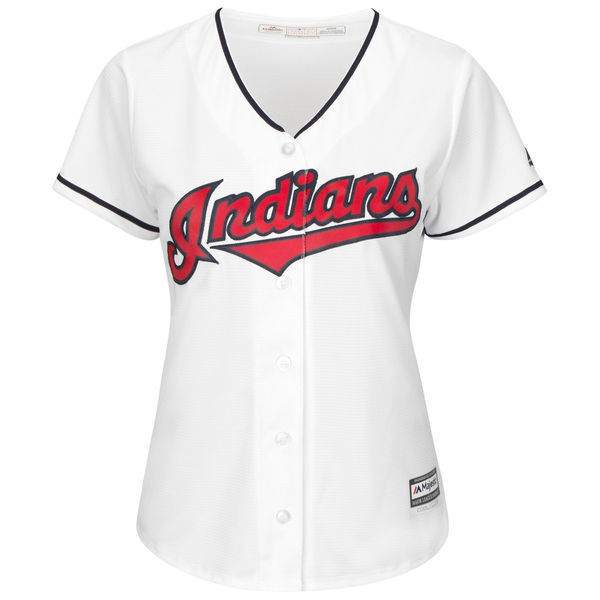 MLB Womens Cleveland Indians White Home Cool Base Custom Jersey