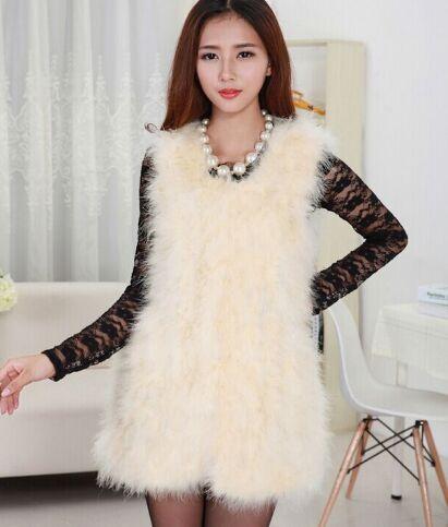 Новое поступление Винтажный стиль настоящий вязаный жилет из меха страуса жилет из натурального меха - Цвет: beige