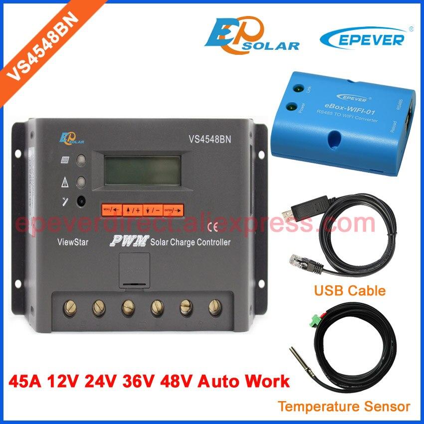 Зарядное устройство 48 В 45A 45amp VS4548BN PWM новый контроллер продукта солнечная панель система Off Grid USB + сенсорные кабели и wifi коробка