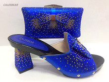 New Blue Color Shoes and Bag Set Decorated with Diamonds Matching Italian Shoes  and Bag Set 3b1c0a822b78