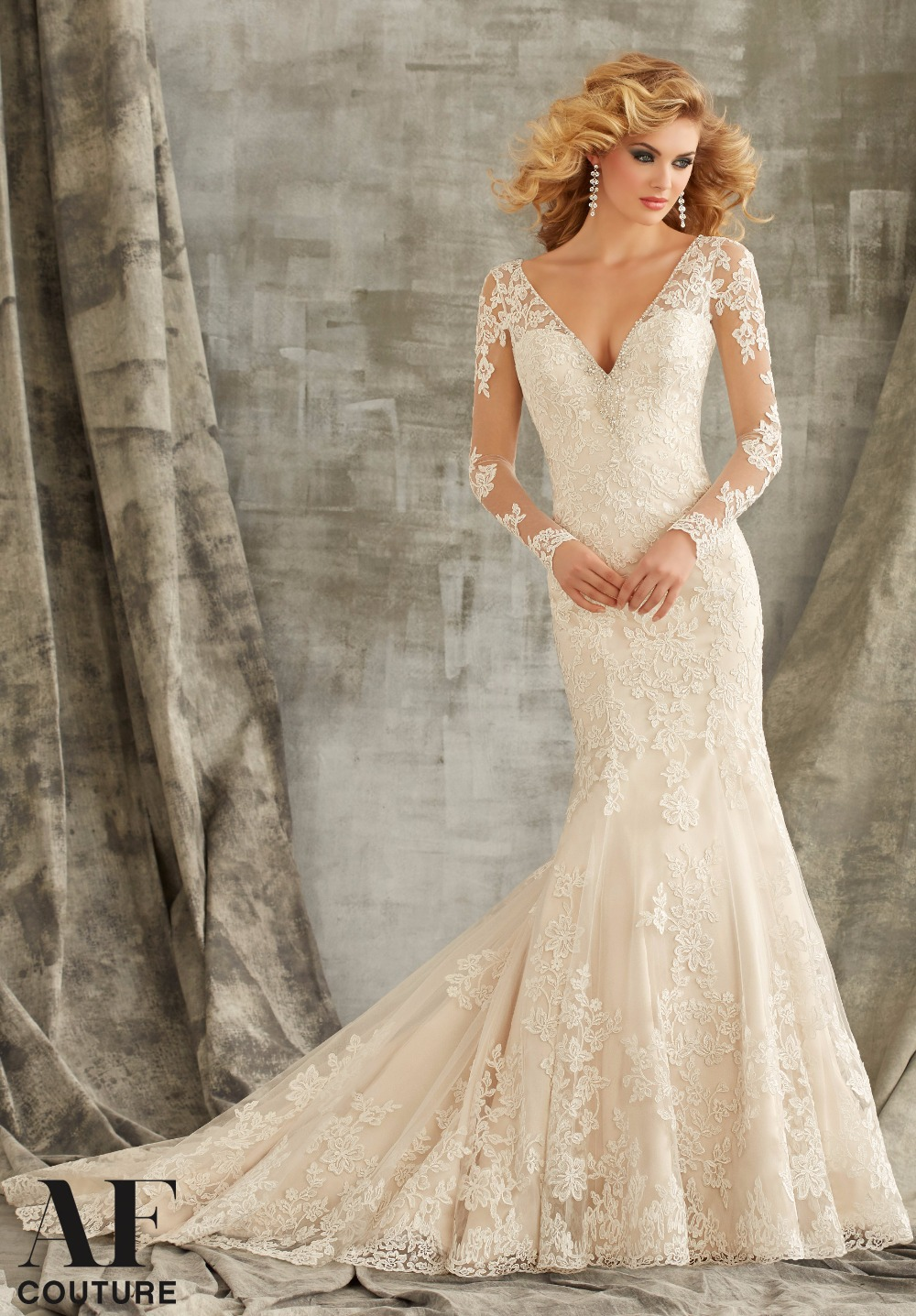 Buy 2015 sexy mermaid v neck long sleeve for Where to buy yasmine yeya wedding dresses