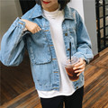 Spring Women's Loose Hole All-match Denim Coat Casual Outerwear Short Design Long-sleeve Jacket Top