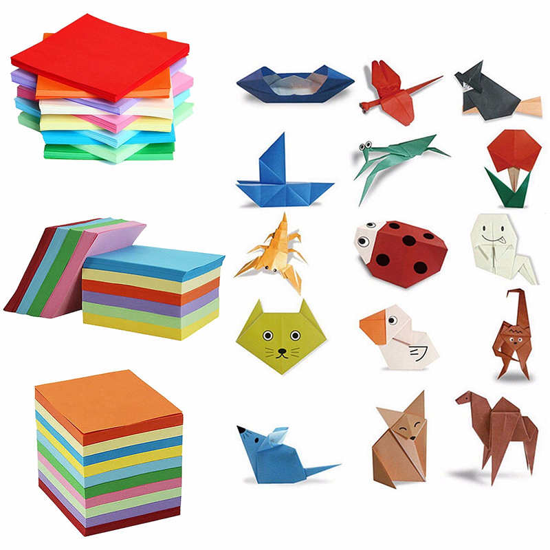 200/520 Sheets 10 Colors Mix Origami Paper Double Sided Coloured Craft Square Assorted DIY Folded Papercraft Tools Multi Size