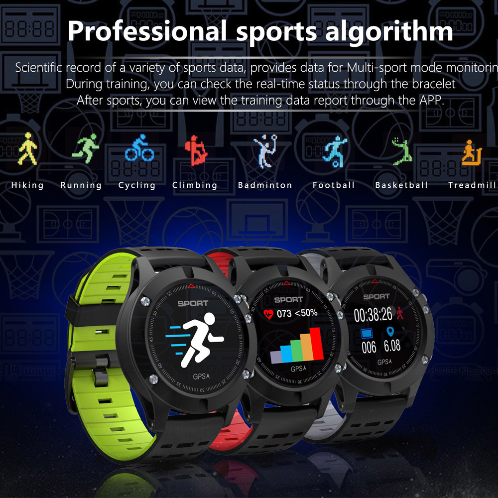 F5 Smart Watch GPS smartwatch Heart Rate monitor Call SMS Pedometer Sports Activities Tracker wristwatch for Android IOS phone