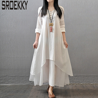 5XL Plus Size Casual Winter Dress 2017 New Fashion Linen Loose Long Vestidos Sexy Full Sleeve