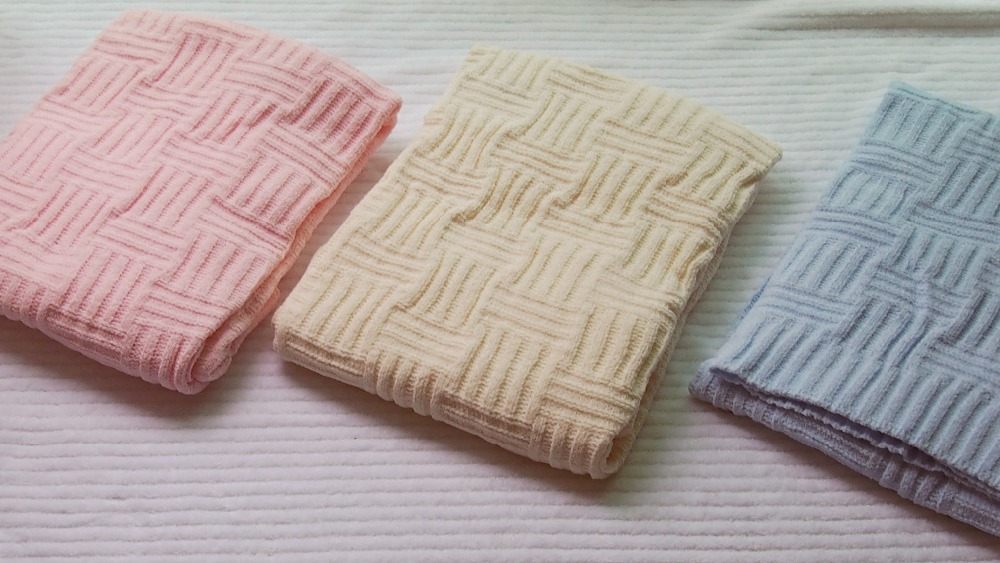 102*76 cm beige/rosa/azul chenilla manta de punto bebé manta niños ...