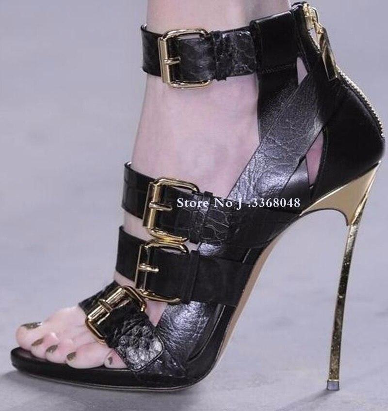 Chaussures femme en cuir véritable boucle cheville Peep Toe sandales femmes lame talon arrière fermeture éclair découpé gladiateur bottes sandale pour femmes