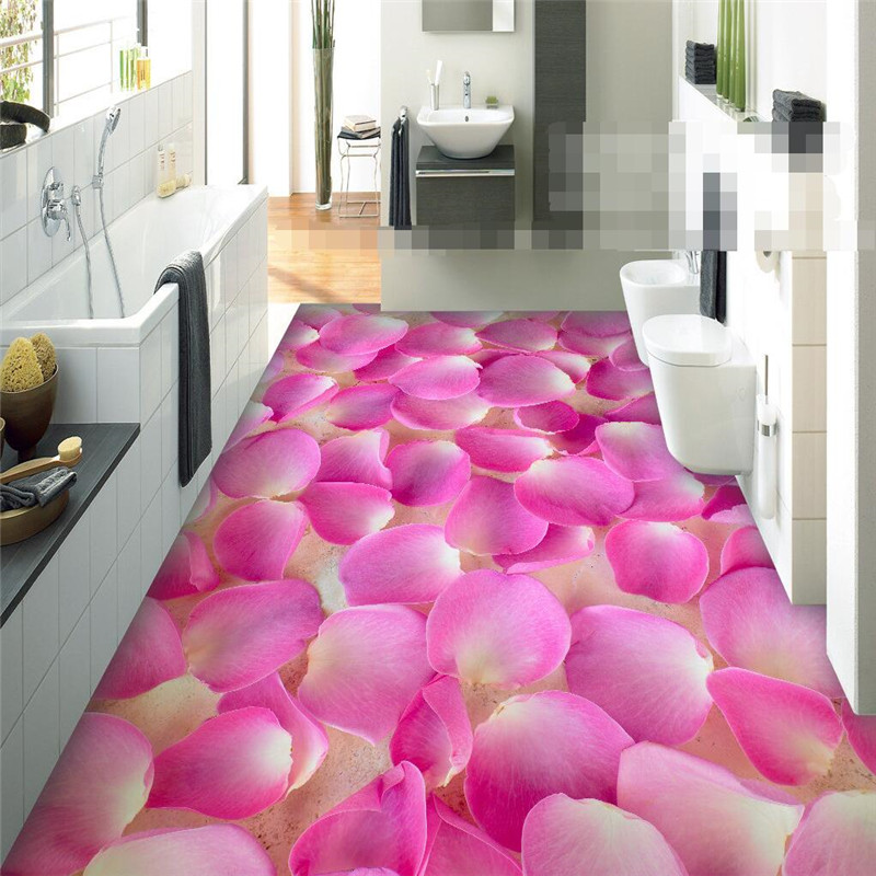 Modern sticker 3D floor painting bathroom mural Romantic pink petals non-slip waterproof thickened self-adhesive PVC Wallpaper beibehang modern bathroom kitchen custom 3d floor mural wallpaper wear non slip waterproof thickened self adhesive 3d pvc floor