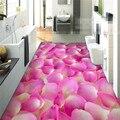 Pegatina 3D pintura del piso cuarto de baño moderno mural Romántico rosa pétalos engrosada antideslizante impermeable auto-adhesivo DEL Papel Pintado DEL PVC