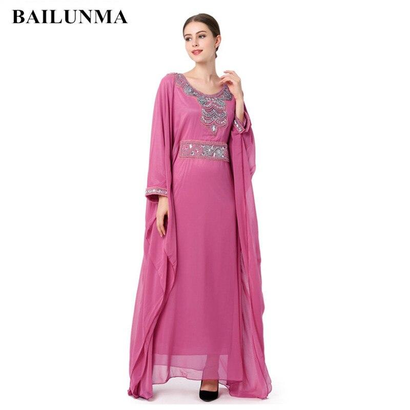 Mode broderie à manches longues robe musulmane robe Dubai Caftan marocain vêtements Caftan islamique femmes Abaya turc robe arabe