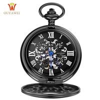 Pocket Watch OUYAWEI Mechanical Watch Men Steampunk Vintage Pendant Watch Necklace Chain Antique Fob Watches Relogio
