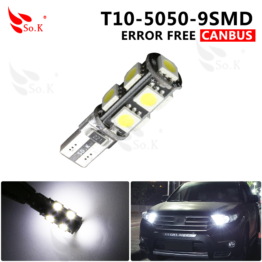 High Quality 1x T10 9SMD 5050 CANBUS 9 smd DC 12V Error Free 9led 194 168 192 W5W Car LED Light Interior Bulbs Wedge Lamp White high t10 canbus 10pcs t10 w5w 194 168 5630 10 smd can bus error free 10 led interior led lights white 6000k canbus 300lm