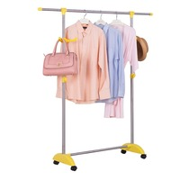 Single Rail Adjustable Telescopic Coat Rack Simple Assembly Bedroom Movable Garment Rack Clothes Hanger DQ1526 B