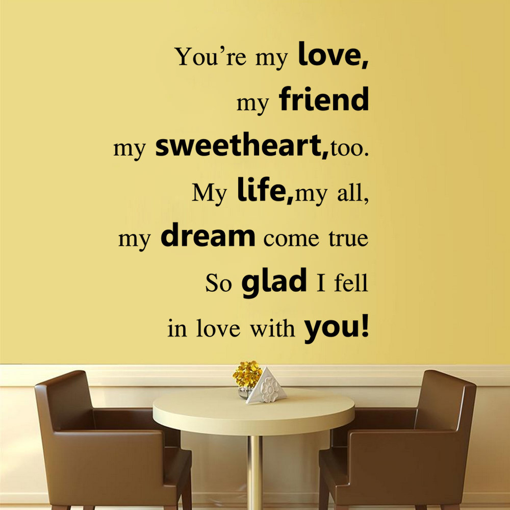 Art Characters Wall Stickers you are my love dining Room DIY Home ...