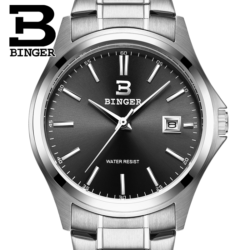 2017 Switzerland luxury men's watch BINGER brand quartz full stainless clock Waterproof Complete Calendar Guarantee B3052A5 2016 switzerland luxury watch men binger brand quartz full stainless wristwatches waterproof complete calendar guarantee b3052b6