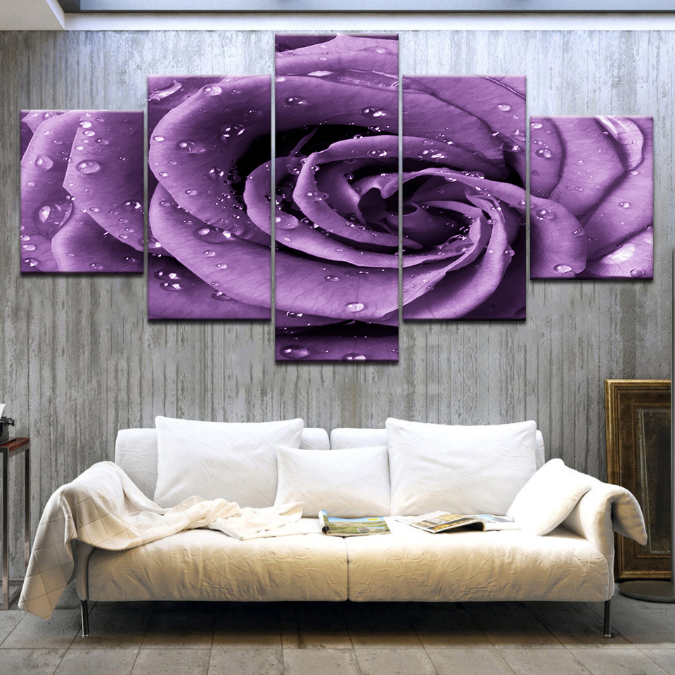 5Panel HD Printed The dew on the purple rose flower wall posters Print On Canvas Art Painting For home living room decoration in Painting Calligraphy from Home Garden