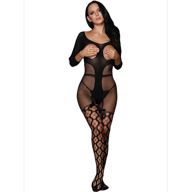 Bodystocking Sexy Lingerie Plus Size  Sexy Bodystocking Black Open Crotch Sexy Lingerie Women Fashion Style See Through 79897