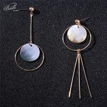 Badu Round Shell Long Earrings for Women Bohemian Fashion Jewelry Geometric Dangle Drop Earring Wholesale