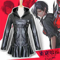 Japanese Anime Tokyo Ghoul Touka Kirishima Cosplay Costumes Women Leather Black Dress Hoodie Jacket A504