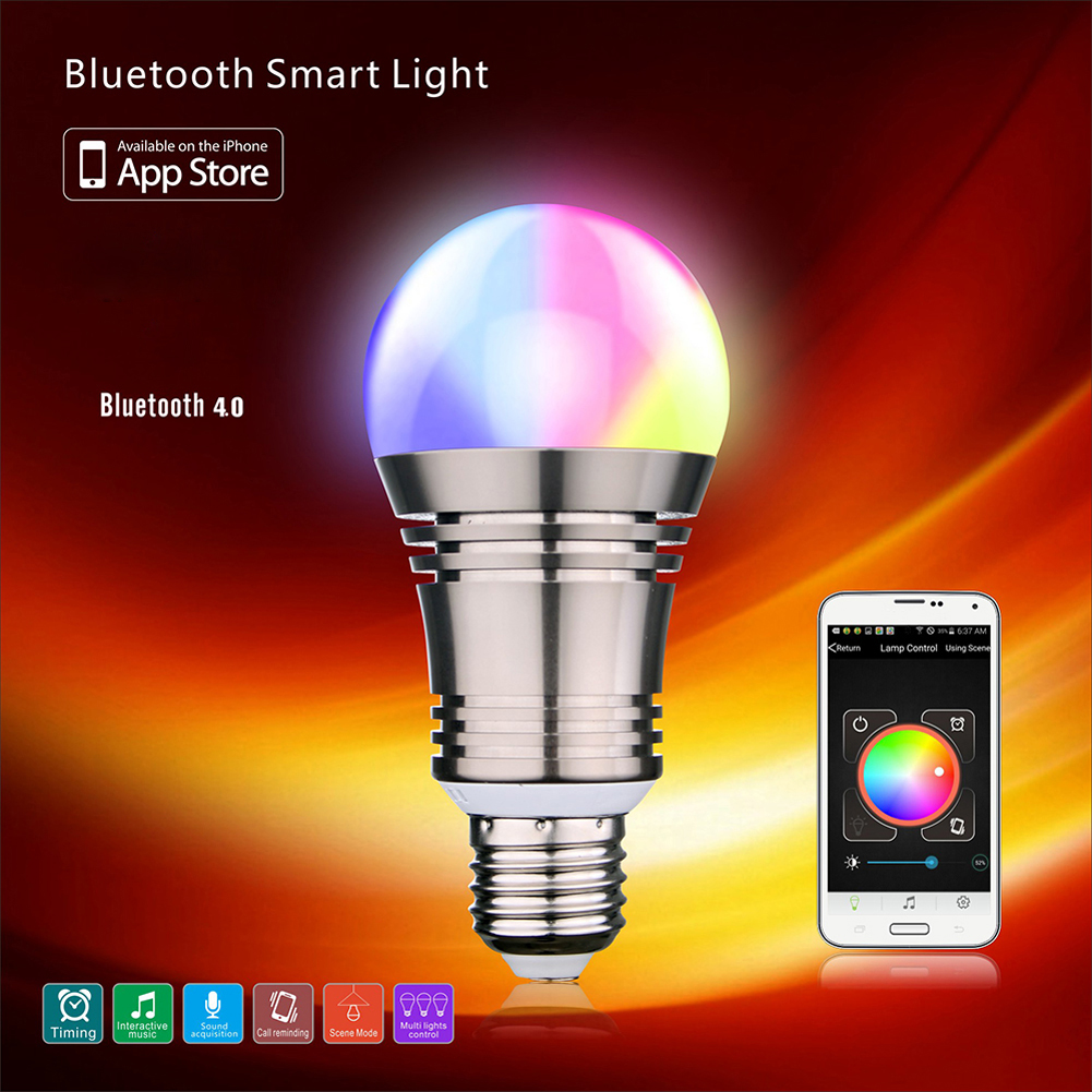 2017New App-Enabled Bluetooth Wireless 4.0 RGBW Energy Efficiant Smart LED Light Bulb High Quality #LO smart bulb e27 7w led bulb energy saving lamp color changeable smart bulb led lighting for iphone android home bedroom lighitng