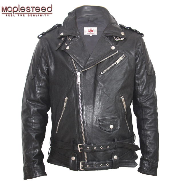 ebe400e43e60 MAPLESTEED Tanned Leather Jacket Moto Black Red Green Slim Vintage Leather  Coat Men Biker Jacket Motorcycle Clothing Winter M145