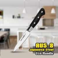 TUO BESTECK Schäl Messer-AUS-8 Japanischen Hohe Carbon Küche Messer mit Schwarz Ergonomische G10 Griff für Geschenk-3,5''