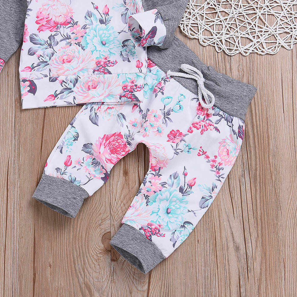 Bloemen Baby Meisje Jongen Kleding Set Lange Mouw Katoen Hoodies + Broek 2 Stuks Outfits 2018 Herfst Baby Meisjes kleding Sets