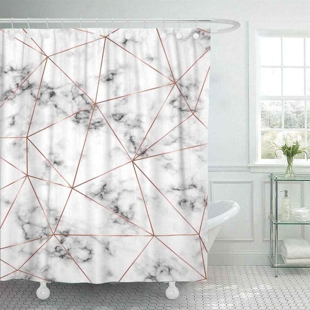 Marble Copper Triangles Geometric Shapes Diamond Holiday Designs Party Waterproof Shower Curtain Extra Long Decorative Bathroom