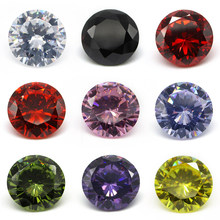 Free Shipping 1.0~10.0mm AAAAA Various Color Loose Cubic Zirconia Stone Round Brilliant Cut CZ Stone Synthetic Gems For Jewelry(China)