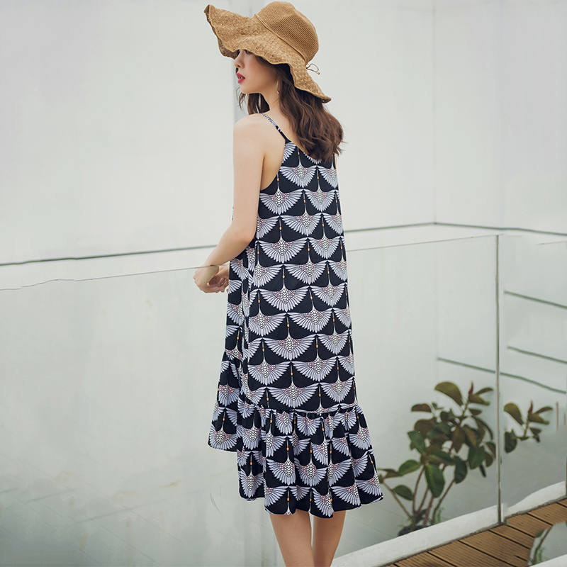 Women 39 s Dress Summer Casual Print Sling Beach Dress Ladies Maxi Long Dresses Loose Ruffle Dress in Dresses from Women 39 s Clothing