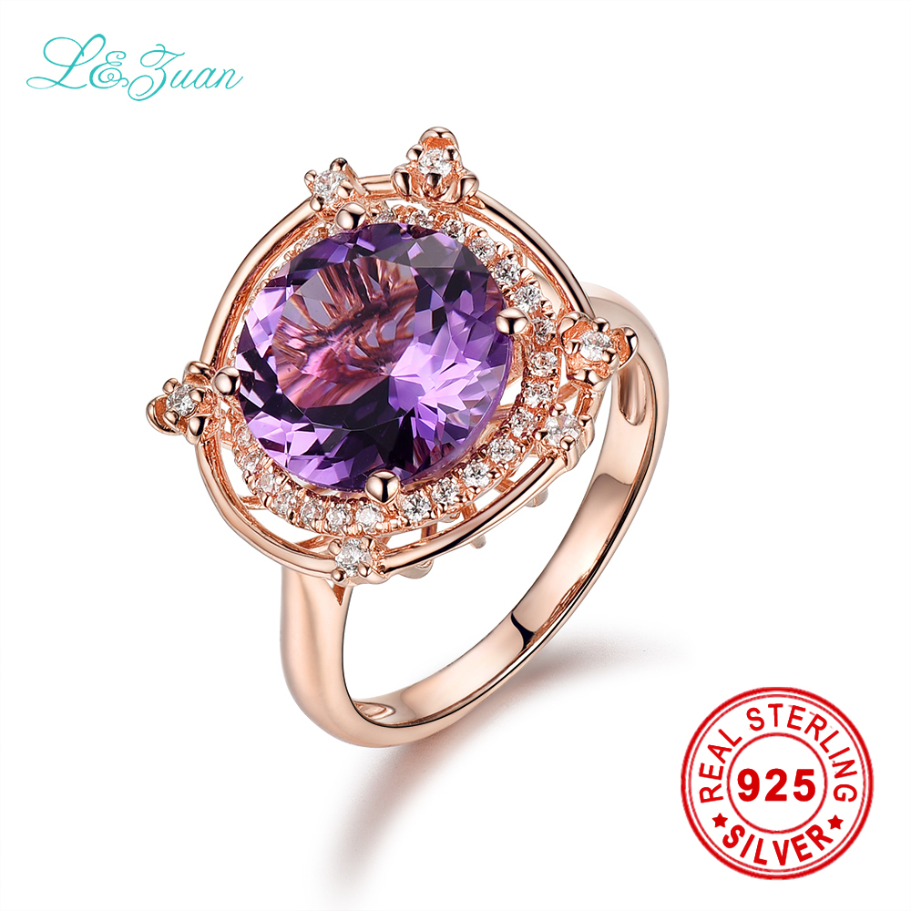 цена на I&zuan Brand Luxury 925 sterling silver Natural 3.13ct Amethyst Prong Setting Purple stone Flower Ring Jewelry For Women gift