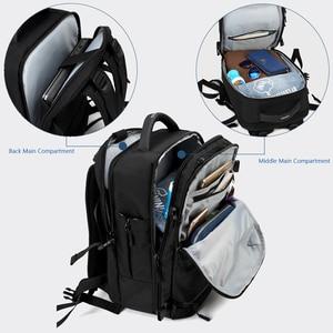 """Image 4 - OZUKO 15 """"17"""" 노트북 배낭을위한 새로운 남성 배낭 발수 다기능 가방 USB 충전 여행 배낭 대형 Mochila"""