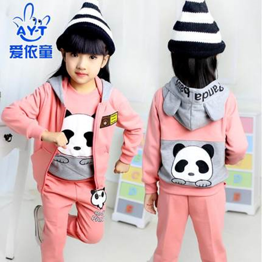 ФОТО Hot 2016 Spring and Autumn children's three-piece suit girls thickening plus cashmere casual fashion children's clothing wave