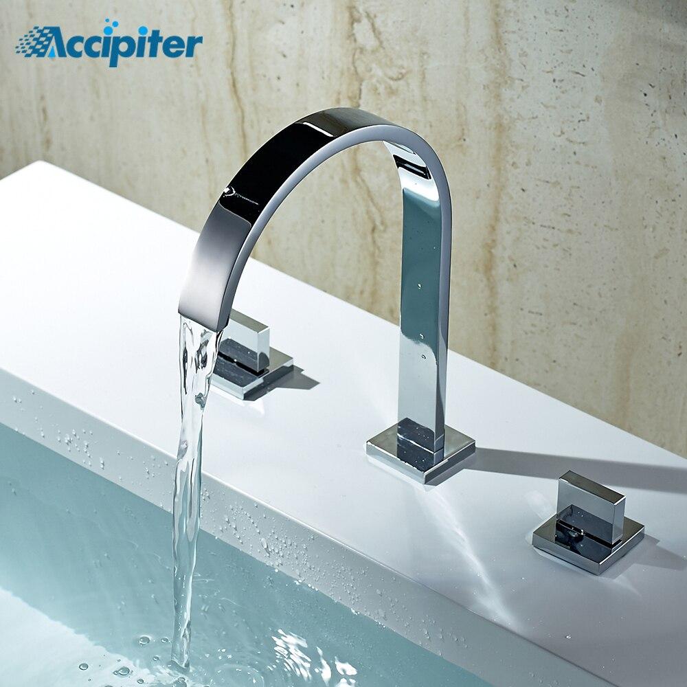 Chrome Torneira Banheiro Duas Alças Deck Montado Banheiro Generalizada Torneira Do Banheiro Bacia Toque Mixer sink 3 Buraco Dupla