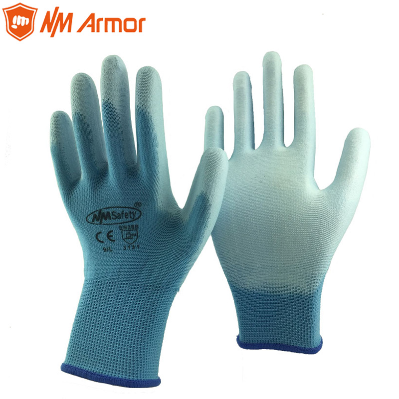 New Arrival 12 Pairs Blue Polyester PU Safety Work Gloves Garden Grip For Palm Coating Work Gloves цена