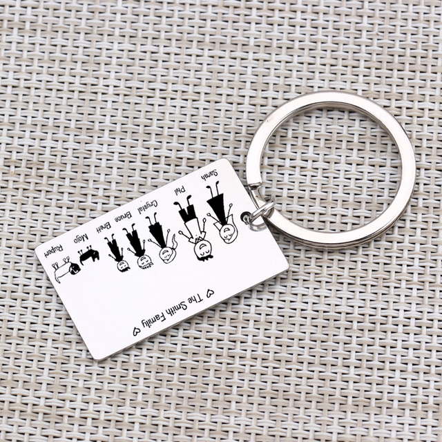 Family Love Key Chain Name Customized Personalized Pets Engraved 3 Colors For Parents Children Present Keyring Bag Charm 5