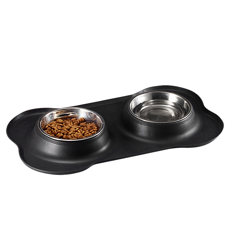 Double Dog Bowl Pet Feeding Station Stainless Steel Water