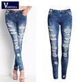 Fashion Ladies Cotton Denim Pants New 2016 Hot Stretch Womens Bleach Ripped Skinny Jeans Denim Jeans For Female Hot sale