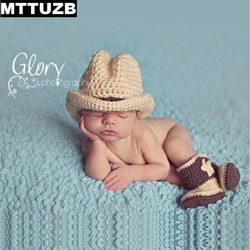 MTTUZB Mode cool newbron Crochet Tenues bébé garçons filles Photographie  Props chapeau tricoté pour enfants chaussures ensemble infantile  accessoires photo ac9b0357bfe