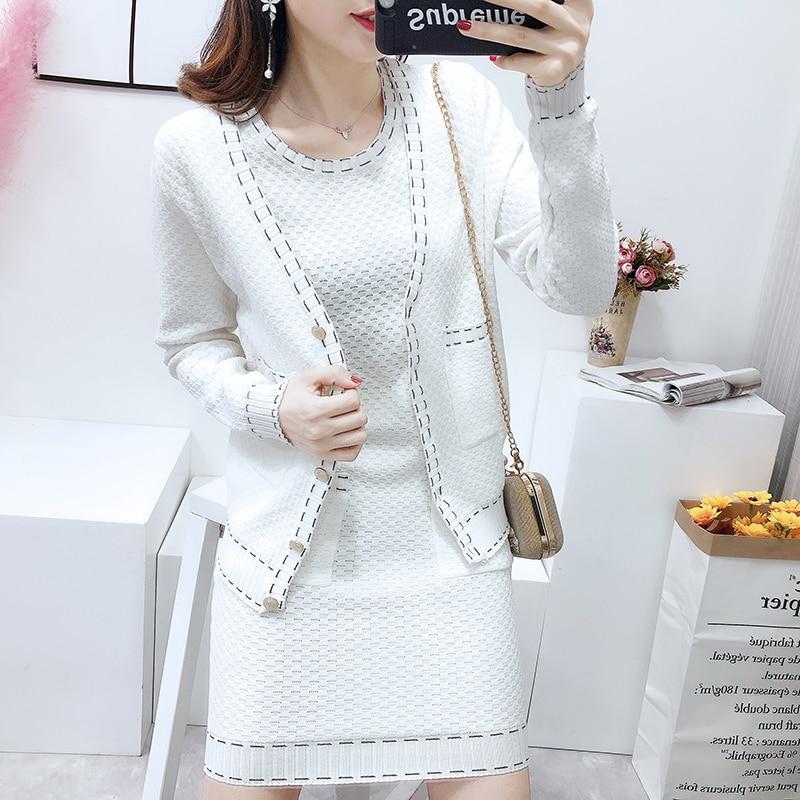 Soirée Cachemire Deux Tricoté Survêtement white Robe Vêtements Raccord Pour Black Veste Femmes Tempérament Serré Ensembles Costume De nk0w8OP