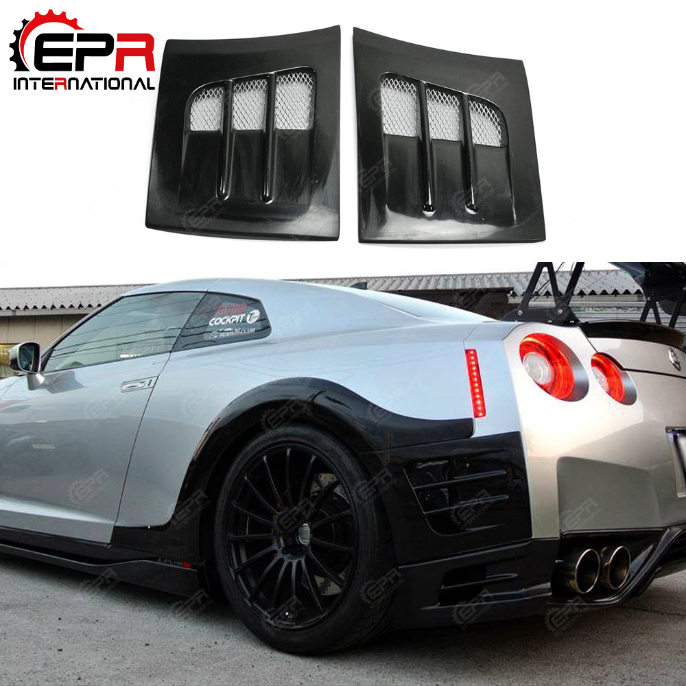 Car styling For Nissan R35 GTR TS Style FRP Fiber Glass Rear Fender Bumper Add On Fiberglass Air Duct Cover Tuning Body Kit Trim|Body Kits| |  - title=