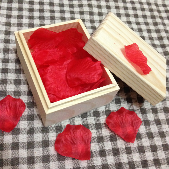Zakka Small Wooden Box With Lid And Rose Flowers Leaf For Wedding Decoration Special Solid Box For Jewelry Gift 8.5*6.5*5cm