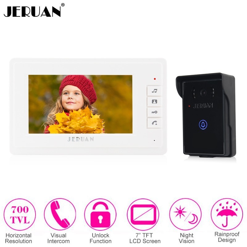 JERUAN Home Wired 7 Inch LCD Video Door Phone Doorbell Intercom System kit Waterproof Touch Key 700TVL IR Camera FREE SHIPPING
