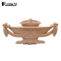Runbazef花バスケット木製浴室キャビネット水平彫刻アップリケ家具ドア装飾品置物ミニチュ