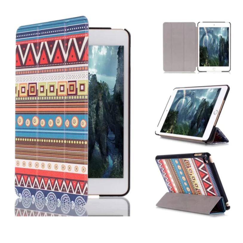Hot selling 2015 New Geometry Pattern Flip Stand Leather Case Cover For iPad Mini 4 Good Looking 1pc