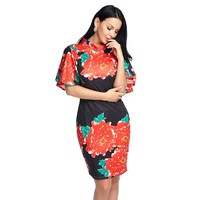 Women Sexy Bodycon Dress Summer Spring Chinese Style Floral Print Flare Sleeve Vintage Midi Dress Ladies