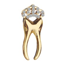 Tooth Pin Brooch Dentist Jewelry Badges I Love My Tooth Brooches Teeth With Crystal Crown Lapel Pin Gift Children Girls(China)