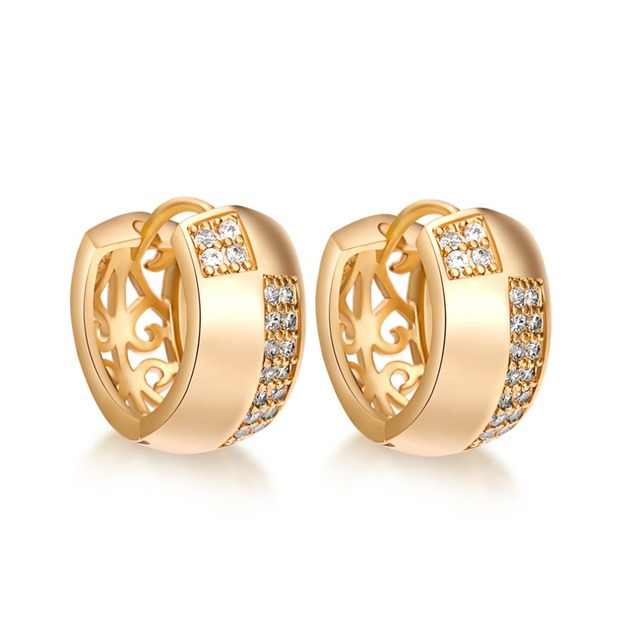 High quality fine shiny round zircon hoop earrings  yellow gold filled women charm huggie earrings gift