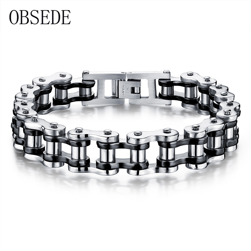 OBSEDE Punk Men Bracelet Biker Bicycle Motorcycle Chain Men's Bracelets & Bangles 316L Stainless Steel Jewelry Fashion Gifts sda 24mm width punk 316l stainless steel bracelet men biker bicycle motorcycle chain men s bracelets mens bracelets