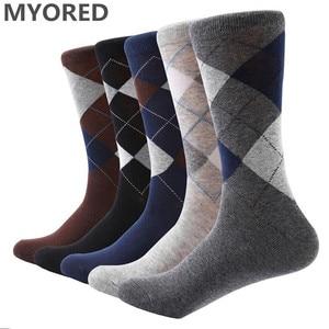 Image 1 - MYORED 10 pair/lot Mens socks solid color Cotton Socks Argyle pattern crew socks for business dress casual funny long socks